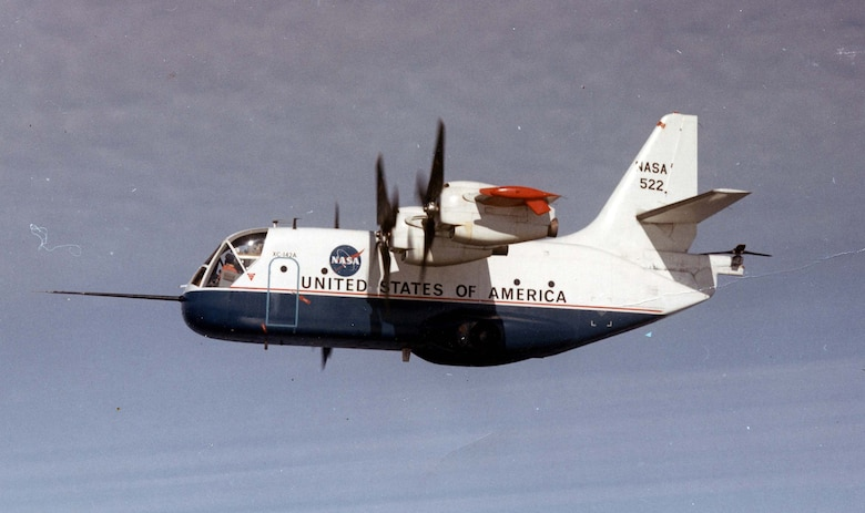 With the wings tilted up, an XC-142A took off and landed like a helicopter. The wings could be tilted forward to provide the speed of a fixed-wing aircraft. The engines were linked together so that a single engine could turn all four propellers and the tail rotor (the tail rotor provided pitch control while in vertical flight). (U.S. Air Force photo)