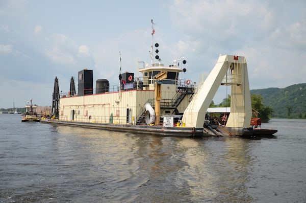 Dredge Goetz performs emergency dredging in Pool 4 of the Upper Mississippi River, July and August 2014.