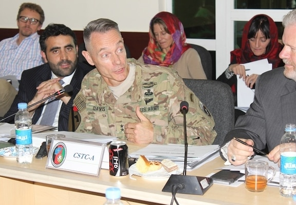 """Maj. Gen. Gordon """"Skip"""" Davis, Jr., commander, Combined Security Transition Command-Afghanistan, discusses progress on transparency, accountability and affordability initiatives within the Afghan Security Institutions at the fifth meeting of the Oversight and Coordination Body, an ambassador-level gathering, Nov. 2."""