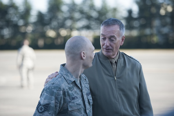 U.S. Marine Corps Gen. Joseph F. Dunford Jr., right, chairman of the Joint Chiefs of Staff, has a meet and greet with airmen assigned the 374th Airlift Wing on Yokota Air Base, Japan, Nov. 4, 2015. DoD photo by U.S. Navy Petty Officer 2nd Class Dominique A. Pineiro