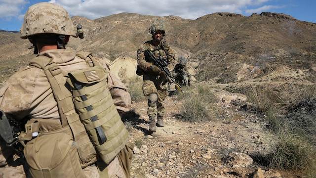 Spain- Marines with 4th Light Armored Reconnaissance Battalion, 4th Marine Division, conduct field operations against the British Royal Marines during Trident Juncture 2015 at Alvarez de Sotomayor in Almería, Spain, Oct. 31, 2015. Though the British Royal Marines served as the opposing force during the exercise, it allows both sides to learn about each other's tactics, techniques and operating procedures.