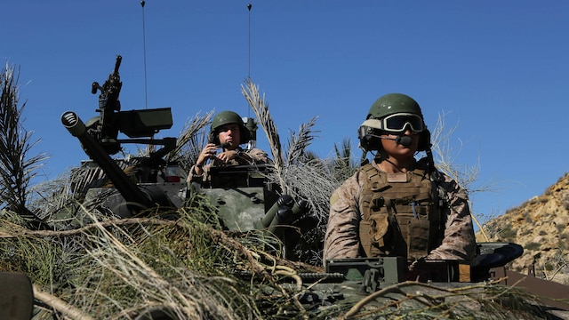 Marines with 4th Light Armored Reconnaissance Battalion, 4th Marine Division scout for enemy positions during their final exercise for Trident Juncture 2015 at Alvarez de Sotomayor in Almería, Spain, Oct. 31, 2015. Though the British Royal Marines served as the opposing force during the exercise, it allows both sides to learn about each other's tactics, techniques and operating procedures.