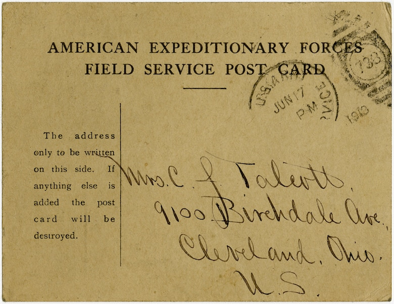 This concise, standardized postcard was developed by American commanders to improve morale and hasten the line of communication between troops at the Front and their nervous families waiting back home. Regular use of this card streamlined postal correspondence and gave hard-pressed censors a needed break in sanitizing leaked operational details from thousands of letters sent home daily. (U.S. Air Force photo)
