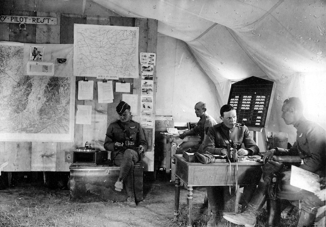 This image depicts the meager accommodations afforded the 147th Aero Squadron while serving in the Toul sector on the Western Front. This tent was home to the squadron's Operations Office in May-June 1918. At the time, the pilots of the 147th were fresh from training at Issoudun and had just received their first French-built Nieuport 28 airplanes. The squadron flew its first mission over the line on May 31, 1918.(U.S. Air Force photo)
