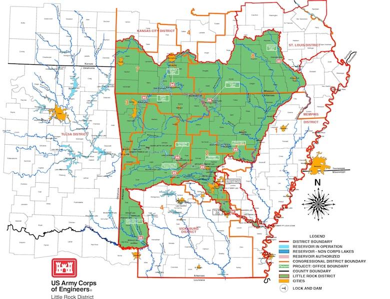 Little Rock District Project Office Map
