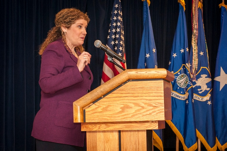Retired Lt. Gen. Susan Helms speaks about her experiences as an officer in the Air Force during a women's brunch Oct. 29, 2015. Helms spoke about issues women face as members of the military and gave tips on how to be successful. The event was also a great networking opportunity for the attendees. (U.S. Air Force photo/Senior Airman Rose Gudex)