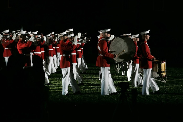 The United States Marine Drum & Bugle Corps performs during a Friday Evening Parade at Marine Barracks Washington, D.C., May 22, 2015. (U.S. Marine Corps photo by Cpl. Christian Varney/ Released)