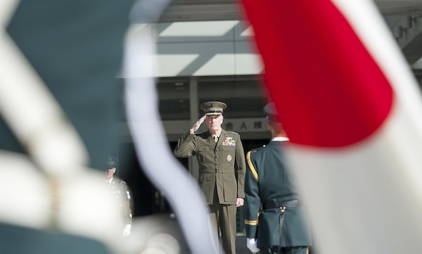 U.S. Marine Corps Gen. Joseph F. Dunford Jr., chairman of the Joint Chiefs of Staff, is welcomed to the Japanese ministry of defense with a full-honors ceremony hosted by Japan Maritime Self- Defense Force Adm. Katsutoshi Kawano, chairman of defense, in Tokyo, Nov. 4, 2015. DoD photo by U.S. Navy Petty Officer 2nd Class Dominique A. Pineiro