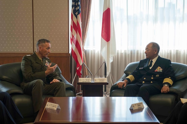 U.S. Marine Corps Gen. Joseph F. Dunford Jr., left, chairman of the Joint Chiefs of Staff, meets with Japan Maritime Self-Defense Force Adm. Katsutoshi Kawano, chairman of defense, at the Japan Ministry of Defense in Tokyo, Nov. 4, 2015. DoD photo by U.S. Navy Petty Officer 2nd Class Dominique A. Pineiro