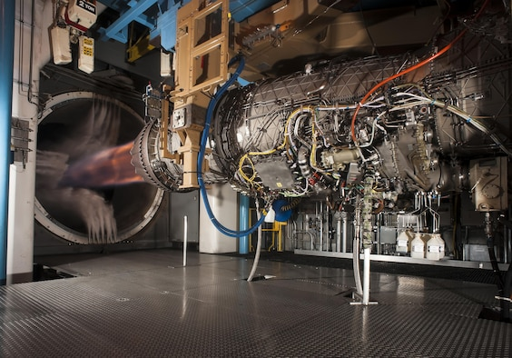 Pratt & Whitney's F135 engine, used in the F-35 Lightning II, successfully demonstrated hot-life capability during accelerated mission testing at AEDC. Pictured here is the engine during testing in the Engine Test Facility's sea level 2 test cell. (Courtesy photo/Rick Goodfriend)