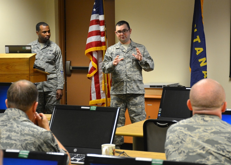 341st Missile Wing Staff Sgt. Rodney Bradley and Tech. Sgt. Jared Lingle conduct a bullet writing seminar for members of the Montana Air National Guard at the 120th Airlift Wing on Oct. 22, 2015. (U.S. Air National Guard photo by Senior Master Sgt. Eric Peterson/Released)