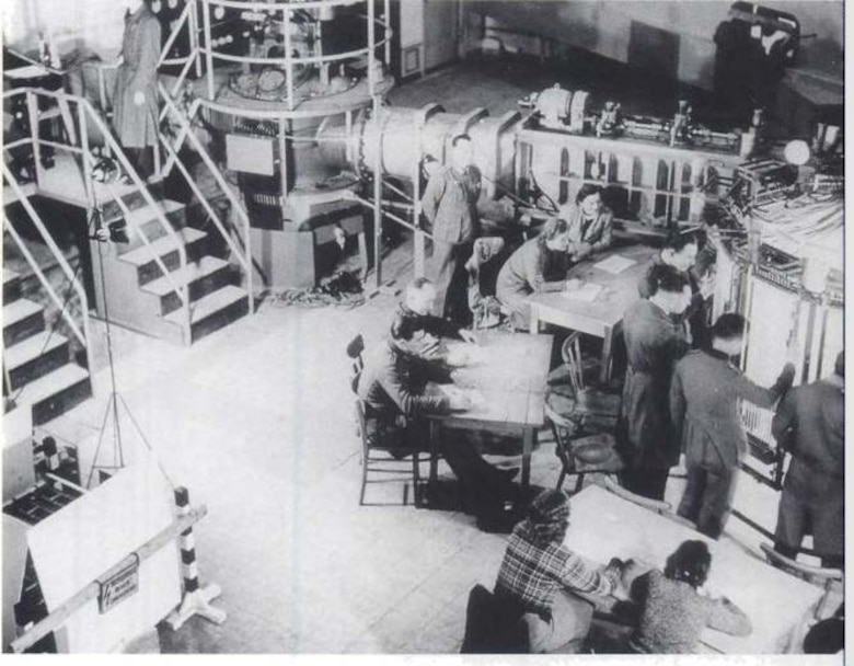 This photo is from one of the wind tunnels in Kochel, Bavaria, that was later obtained and sent to the U.S. Navy laboratories at White Oak, Md., which is now a geographically separated AEDC test facility. Pictured here are German scientific and military personnel operating the tunnel.