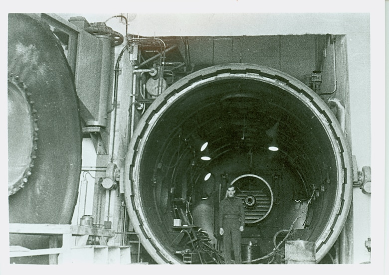 A 1945 photo shows one of the two high altitude cells at the Munich BMW plant. Engines having up to 4,400 pounds of thrust could be tested at conditions simulating Mach number 0.8 (about 525 mph) at 55,000 feet. Inlet air supply totaled 55 pounds per second.