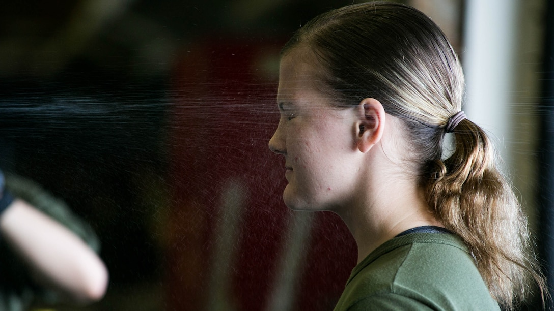 Lance Cpl. Breeann Rogers is sprayed with oleoresin capsicum aboard the USS Essex on the Indian Ocean, Oct. 31, 2015 during a non-lethal weapons course. Rogers is a motor transportation operator with Combat Logistics Battalion 15, 15th Marine Expeditionary Unit, and is a member of the combat cargo platoon. U.S. Marines and Sailors were sprayed across the face with OC spray and went through a series of exercises as their final event of the course.
