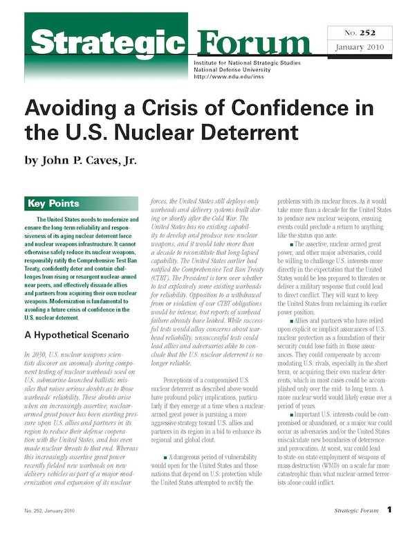 Avoiding a Crisis of Confidence in the U.S. Nuclear Deterrent
