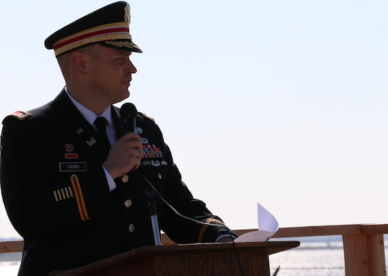 Lieutenant Col. Daniel Young, deputy commander, Tulsa District, U.S. Army Corps of Engineers, speaks during the opening ceremony for the Waurika Lake dredging project, November 3. Young praised the Waurika Lake Master Conservancy District for their efforts in dreding Waurika Lake to reclaim water supply and flood control storage.