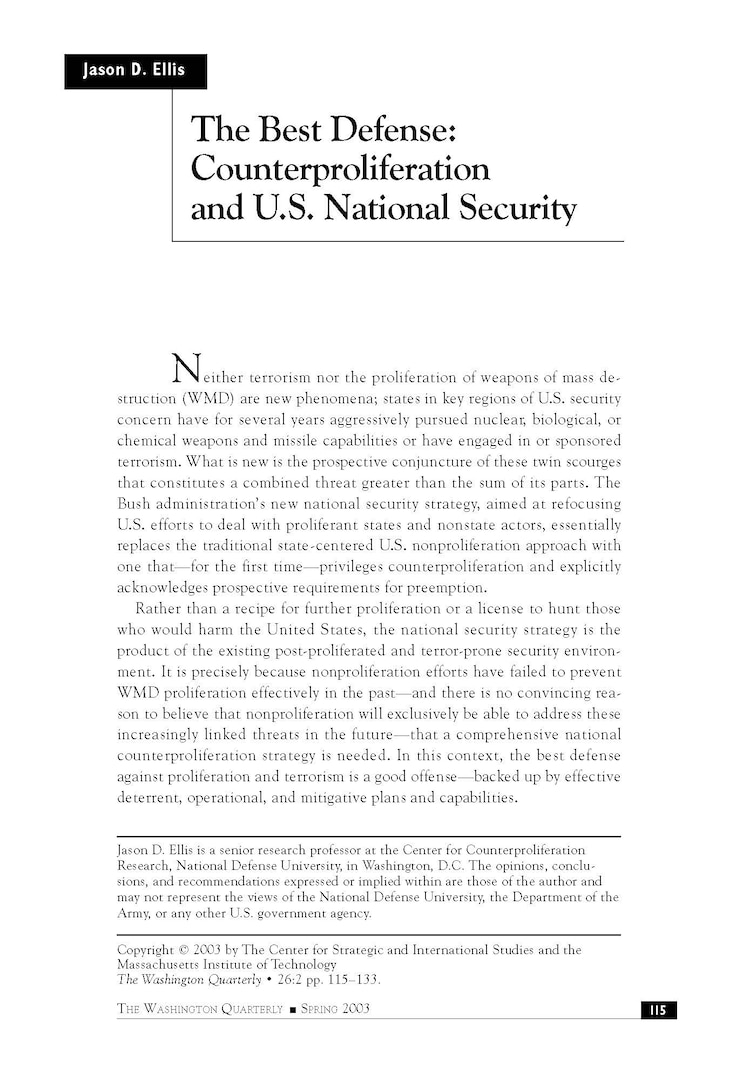 The Best Defense: Counterproliferation and U.S. National Security Policy