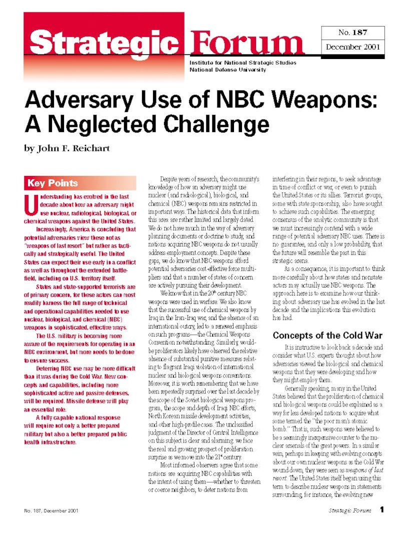 Adversary Use of NBC Weapons: A Neglected Challenge