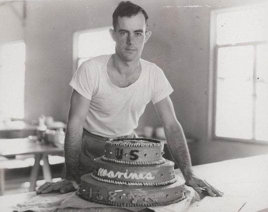 Field Cook Dewitt Waite with Marine Corps Birthday Cake, 1943 