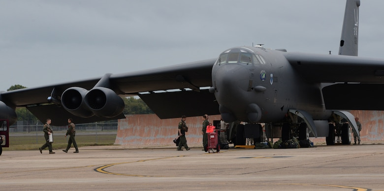 Aircrew members load supplies onto a B-52 Stratofortress at Barksdale Air Force Base, La., Nov. 3, 2015, prior to a long-range bomber mission to the U.S. European Command area of operations in support of Trident Juncture 2015. During the non-stop sortie, which lasted approximately 26 hours, two B-52 aircrews flew from Barksdale AFB to the exercise area of operations where they executed a show-of-force in Spain, participated in a naval maritime strike scenario, and conducted a large force integration scenario in Portugal.  The exercise, which was NATO's largest in 20 years, took place in Spain, Portugal, Italy and at sea. (U.S. Air Force photo/Airman 1st Class Curt Beach)
