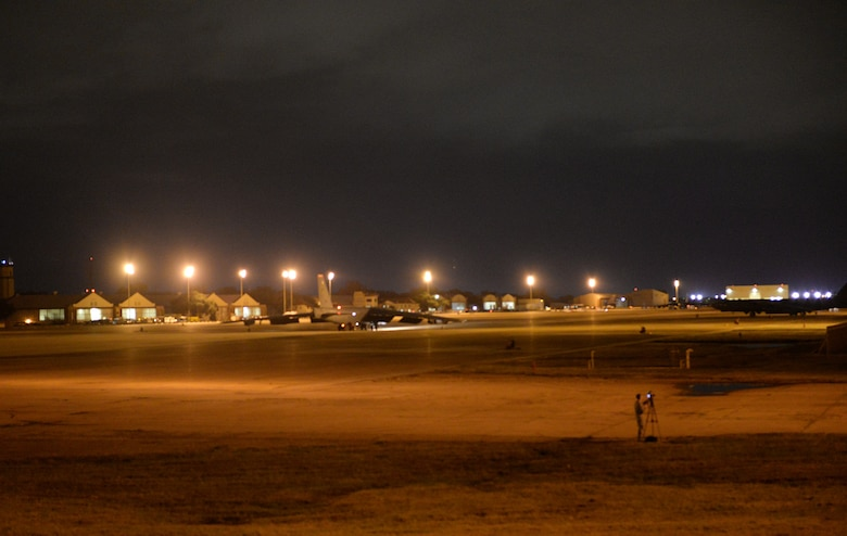 A B-52 Stratofortress taxis to the runway at Barksdale Air Force Base, La., Nov. 3, 2015 prior to a long-range bomber mission to the U.S. European Command area of operations in support of Trident Juncture 2015. During the non-stop sortie, which lasted approximately 26 hours, two B-52 aircrews flew from Barksdale AFB to the exercise area of operations where they executed a show-of-force in Spain, participated in a naval maritime strike scenario, and conducted a large force integration scenario in Portugal. Long-range endurance missions provide bomber forces with the opportunity to maintain readiness and train and operate in various geographical locations and environments. (U.S. Air Force photo/Airman 1st Class Curt Beach)