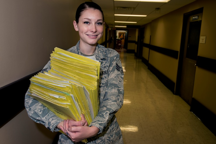 Senior Airman Acalia Cleaver, 82nd Medical Support Squadron family member relocation care coordinator and native of Sugar Grove, Ill., has been in the Air Force for two and a half years and is the Support Airman of the Week at Sheppard Air Force Base, Texas, for the week of Nov. 3-9, 2015. Cleaver is responsible for ensuring Airmen in Training and permanent party members are able to move to another duty station. (U.S. Air Force photo/Senior Airman Kyle Gese)