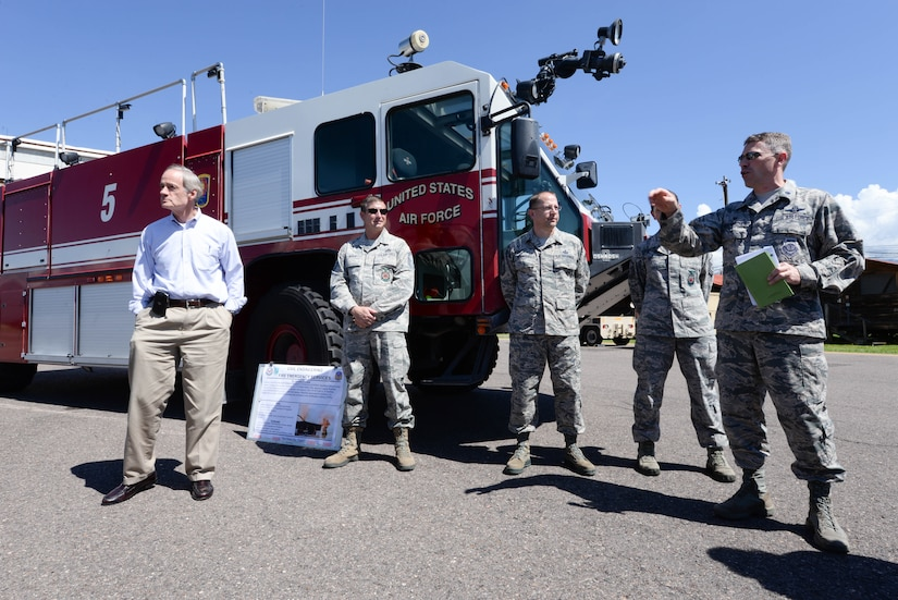 U.S. Air Force Lt. Col. James Wandmacher, 612th Air Base Squadron commander, provides U.S. Sen. Tom Carper, an in-depth brief on the capabilities of the facilities and support services provided on Soto Cano Air Base, Honduras,  Nov. 1, 2015. The 612th is responsible for maintaining airfield operations, fire department facilities, air traffic control and various other air field support functions. (U.S. Air Force photo by Senior Airman Westin Warburton/Released)