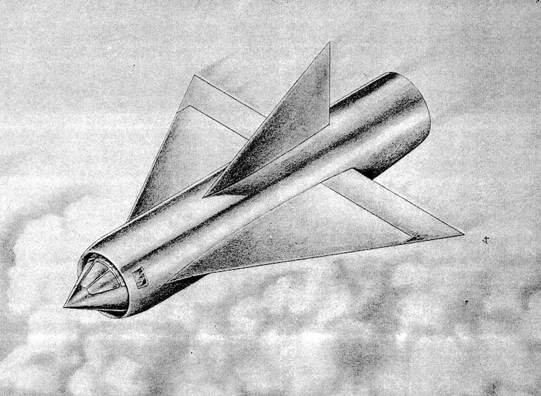 "Early illustration of the ramjet-powered XP-92 (In 1948, the Air Force changed the designation from ""P"" for pursuit to ""F"" for fighter). (U.S. Air Force photo)"