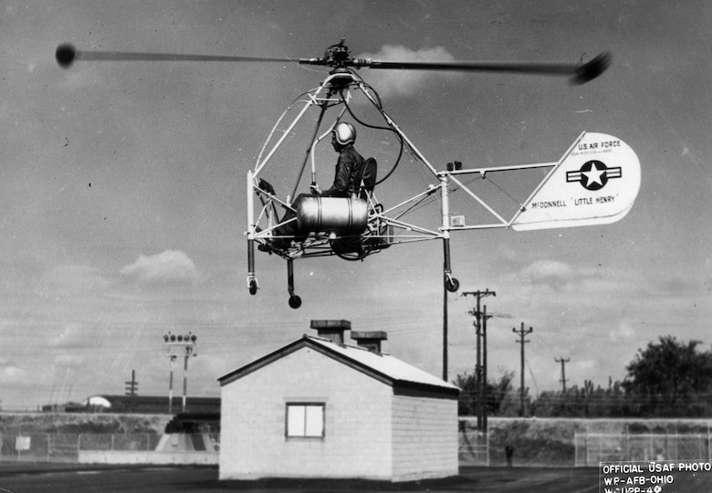 Unlike most helicopters, the Little Henry did not need a transmission or tail rotor. (U.S. Air Force photo)
