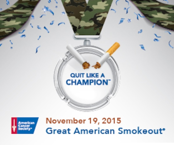 """The American Cancer Society is encouraging smokers to """"Quit Like A Champion""""™ during the Great American Smokeout, Nov. 19, according to the American Cancer Society Inc.'s website, www.cancer.org. The campaign is held to encourage more than 45 million cigarette smokers, 12.4 million cigar smokers and 2.3 million tobacco pipe smokers to quit or make a plan to quit on that day."""