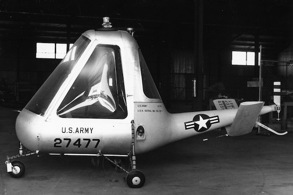 This is one of five XH-26 prototypes. The pulsejets produced no torque like engines on other helicopters -- the tiny, belt-driven tail rotor was not used to counter torque, but to improve directional control. (U.S. Air Force photo)