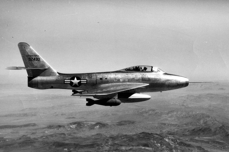 The museum's aircraft is pictured here as the F-84F prototype. In this configuration, it was originally called the YF-96A, but later redesignated the YF-84F. (U.S. Air Force photo)