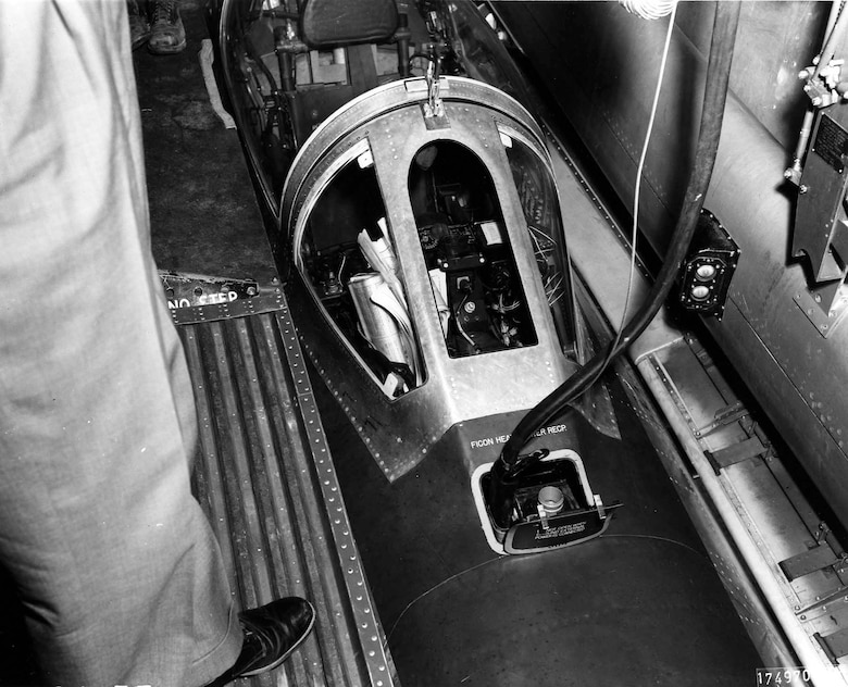 View of the YRF-84F from inside the B-36 -- the pilot could enter and exit the cockpit from within the bomber. (U.S. Air Force photo)