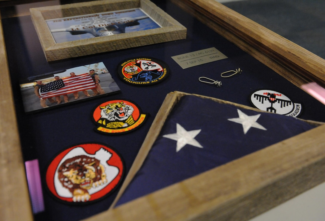 The shadow box given to retired Lt. Col. Robert E. Cole from the 28th Operations Group, Ellsworth Air Force Base, S.D, Nov. 5, 2015. Cole is a B-25 Mitchell bomber co-pilot and survivor of the Doolittle Raid on Tokyo.  (U.S. Air Force photo/Staff Sgt. Carlin Leslie)