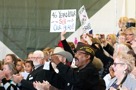 """Maj. Gen. Wayne W. Grigsby Jr., 1st Infantry Division and Fort Riley, hosted a welcome home ceremony Nov. 6, 2015 on Marshall Army Airfield to give Vietnam veterans the thanks they deserved for serving their country. U.S. Army Soldiers returning from deployments today are often met with fanfare, but that wasn't always the case decades ago as troops came home from fighting in the Vietnam War. That was not the case Nov. 6 as """"Big Red One"""" and Fort Riley Soldiers, veterans' families and members of the Flint Hills community participated in the Vietnam Veterans Welcome Home Ceremony. """"Vietnam veterans have gone above and beyond to make sure that our current generation of Soldiers, Sailors, Airmen and Marines do not have the same experience they did,"""" Grigsby said. """"Like so many of the Soldiers in this hangar, I've been to my fair share of deployment and redpeloyment ceremonies. They are often attended by veterans. You can pick them out of any crowd, old troopers with wise eyes, wearing hats and patches recognizing their units or the conflicts in which they served."""" View more photos at https://www.flickr.com/photos/firstinfantrydivision/albums/72157660130700087 or https://www.flickr.com/photos/dptmsceremonies/albums/72157658571157674"""