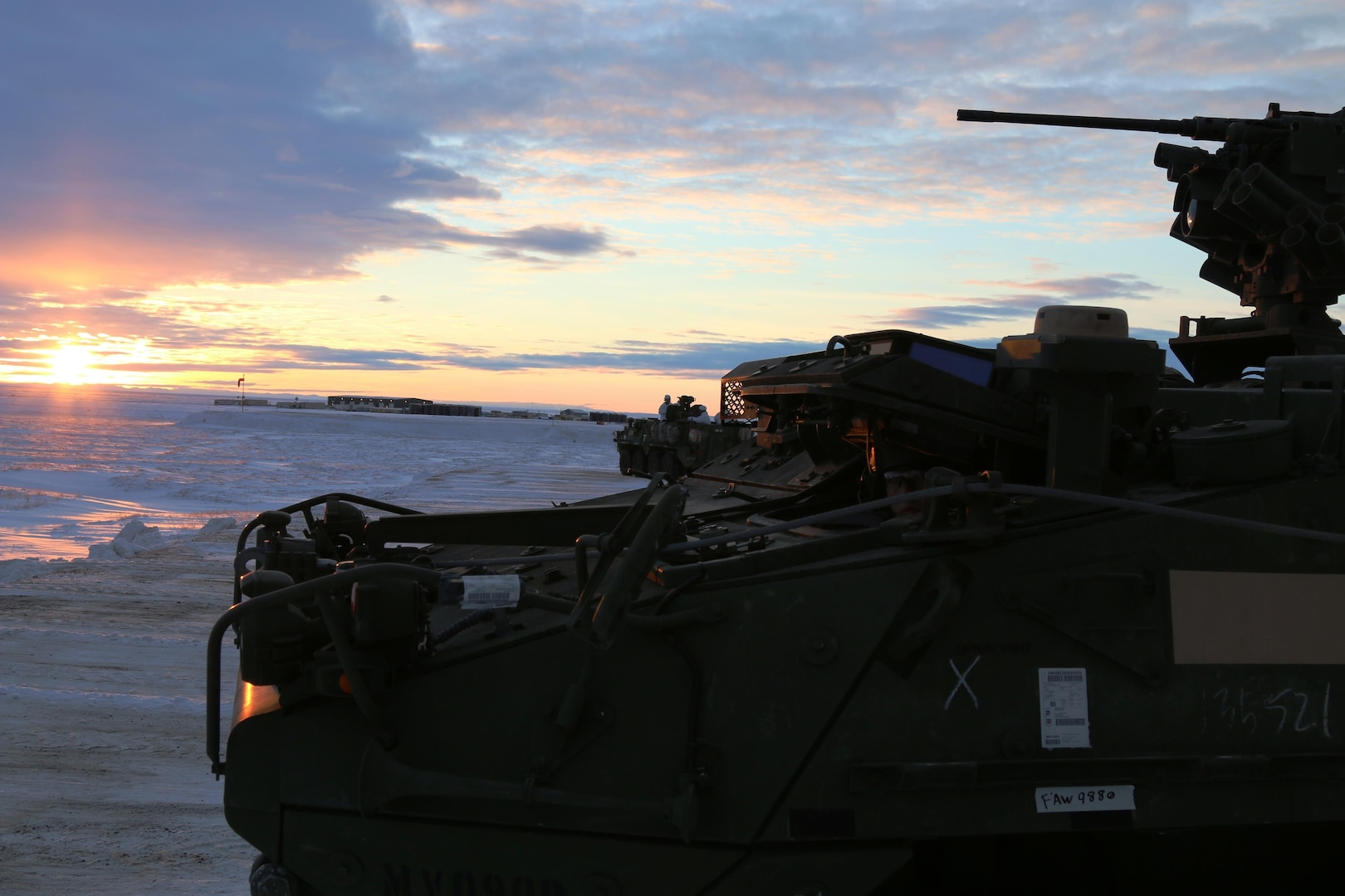 U.S. Army Alaska Soldiers from Bravo Company, 3-21 Infantry Regiment, 1st Stryker Brigade patrolling the Arctic tundra surrounding Deadhorse, Alaska, during Operation Arctic Pegasus, Nov. 4, 2015. Arctic Pegasus is U.S. Army Alaska's annual joint exercise designed to test rapid-deployment and readiness in the Arctic. The exercise marks the first time Strykers have deployed above the Arctic Circle. 1st Stryker Brigade Combat Team is the Army's northernmost unit and has the unique capability to deploy and operate in extreme cold regions. (Photo by Capt. Richard Packer, U.S. Army Alaska Public Affairs)