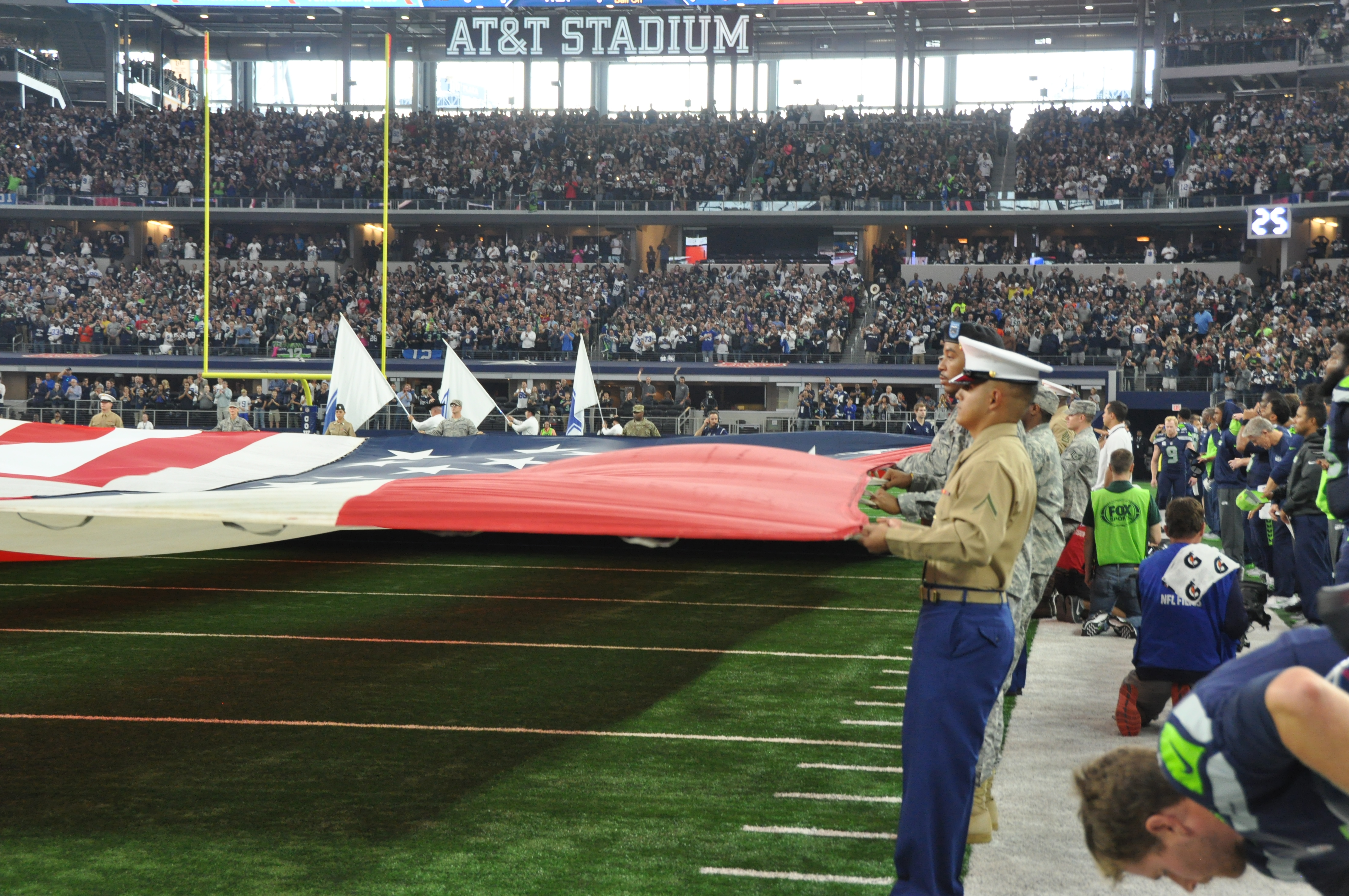 Dallas Cowboy flag detail shows military jointness in Fort Worth