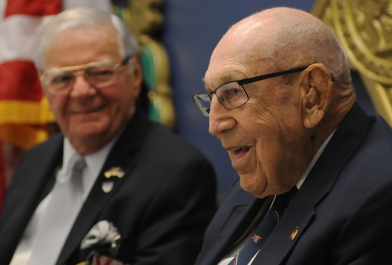 Retired Lt. Col. Dick Cole, one of two surviving Doolittle Raiders, answers questions in the Hall of Heroes at the Pentagon, Arlington, Va., Nov. 5, 2015. The Doolittle Raid was designed to bolster American morale and provide the U.S. an opportunity to retaliate against Japan after their attack on Pearl Harbor. (U.S. Air Force photo by Staff Sgt. Carlin Leslie/Released)