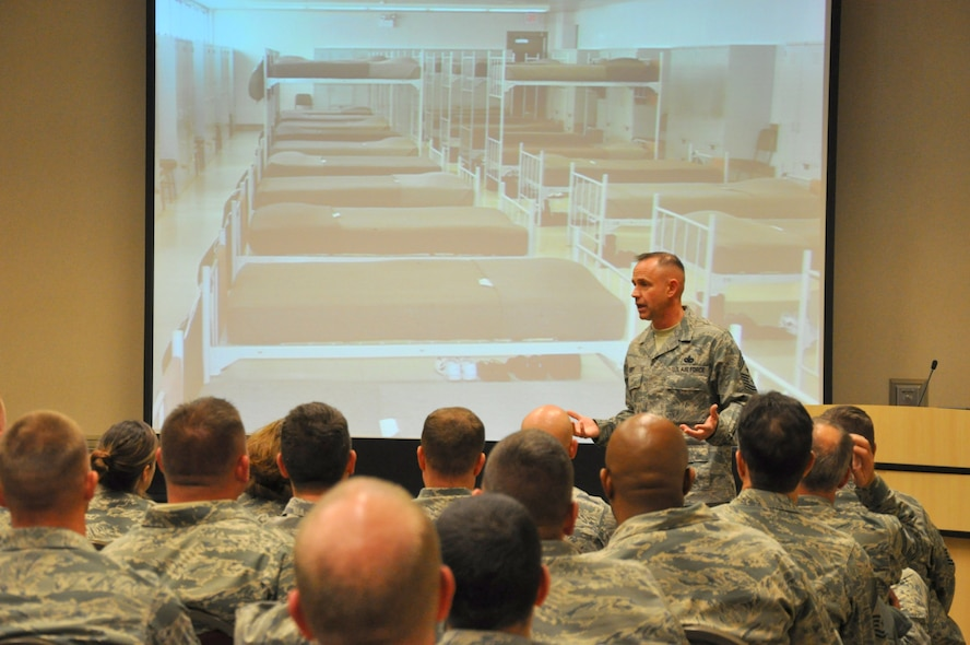 Command Chief Eddy speaks with the men and women of Alpena Combat Readiness Training Center (CRTC) during their recent enlisted call. During his talk, he touched on the importance of readiness, teamwork, and continuous improvement.