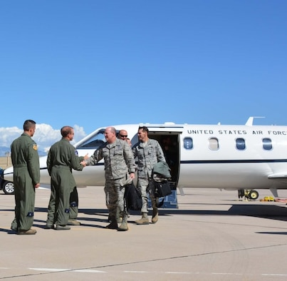 Lt. Gen. James Jackson, Commander of the Air Force Reserve and Lt. Gen. Stanley Clark III, the director of Air National Guard arrive at  Tucson International Airport to participate in the 34th annual WEPTAC Council. Air National Guard photo by Staff Sgt Micah   Hill/Released.