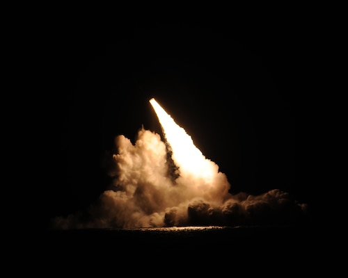 A trident II D-5 ballistic missile is launched from the Ohio-class ballistic missile submarine USS Kentucky (SSBN 737) during a missile test at the Pacific Test Range, Nov. 7, 2015. The launch, the 156th successful test flight of an unarmed Trident II D5 missile, was part of a Demonstration and Shakedown Operation (DASO) in the Pacific Test Range to validate the readiness and effectiveness of an SSBN's crew and weapon system. Strategic weapons tests, along with exercises and operations, demonstrate the readiness of the nation's nuclear triad, assuring America's allies and deterring potential adversaries. One of nine DoD unified combatant commands, USSTRATCOM has global strategic missions, assigned through the Unified Command Plan, which include strategic deterrence; space operations; cyberspace operations; joint electronic warfare; global strike; missile defense; intelligence, surveillance and reconnaissance; combating weapons of mass destruction; and analysis and targeting. (U.S. Navy photo/Released)