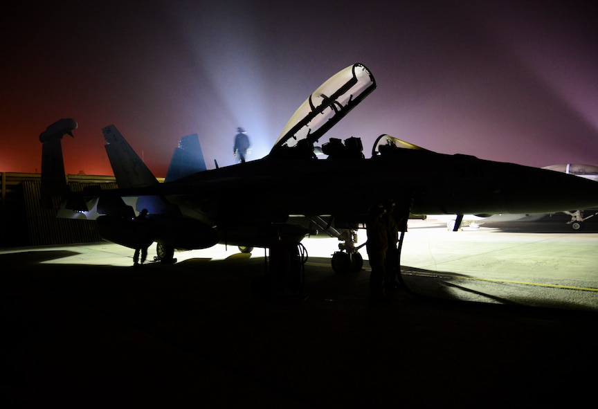 A Navy aviation electronics technician walks the spine of an EA-18G Growler as part of an inspection on the aircraft during exercise Vigilant Ace 16 at Osan Air Base, Republic of Korea, Nov. 4, 2015. The EA-18Gs are at Osan are from the Electronic Attack Squadron (VAQ) 132 at Naval Air Station Whidbey Island, Wash. The EA-18G's vast array of sensors and weapons provides the warfighter with a lethal and survivable weapon system to counter current and emerging threats. Exercise Vigilant Ace 16 is a large-scale exercise designed to enhance the interoperability of the U.S. and Republic of Korea forces. (U.S. Air Force photo/Tech. Sgt. Travis Edwards)