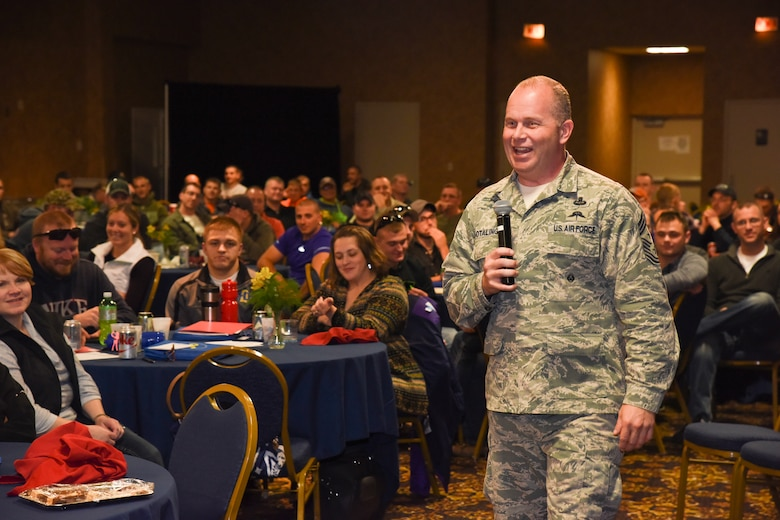 SIOUX FALLS, S.D. - Command Chief Master Sergeant of the Air National Guard James W. Hotaling speaks to Airmen from the 114th Fighter Wing, South Dakota Air National Guard, at the Ramkota Exhibit Hall, Sioux Falls, S.D., Nov. 7, 2015. Hotaling attended the units Yellow Ribbon reintegration event and spoke with approximately 250 Airmen who recently returned from a four month Theater Security Package deployment at Kunsan AB, South Korea. (U.S. Air National Guard photo by Staff Sgt. Luke Olson/Released)