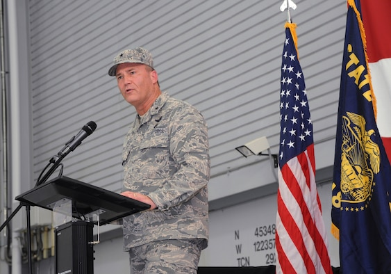 Brig. Gen. Michael Stencel, Adjutant General for Oregon, address the Airmen of the 142nd Fighter Wing, coworkers and families during the demobilization ceremony for the 123rd Expeditionary Fighter Squadron, 142nd Fighter Wing, Nov. 6, 2015, Portland Air National Guard Base, Ore. (U.S. Air National Guard photo by Tech. Sgt. John Hughel, 142nd Fighter Wing Public Affairs/Released)