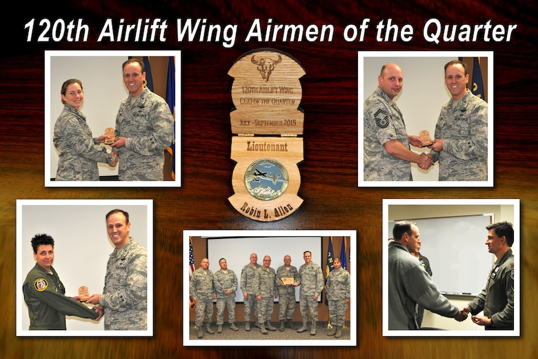 Members of the 120th Airlift Wing are presented awards during the wing's first quarterly awards program by Commander Col. Lee Smith. Award winners pictured clockwise include 1st Lt. Robin Allen from 120th Wing Headquarters Squadron, company grade officer; Senior Master Sgt. Gregory Milton of the 120th Maintenance Group, innovator of the quarter;  Maj. Cody Burroughs from the 120th Operations Group, field grade officer; 120th Logistics Readiness Squadron, squadron of the quarter; and Senior Master Sgt. Rebecca Carmichael from the 120th Operations Group, senior noncommissioned officer.  Not pictured are Senior Airman Benjamin McLaughlin from the 120th Mission Support Group, Airman; and Staff Sgt. Stephen Crass from the 120th Mission Support Group, noncommissioned officer. (U.S. Air National Guard photo illustration/Senior Master Sgt. Eric Peterson)