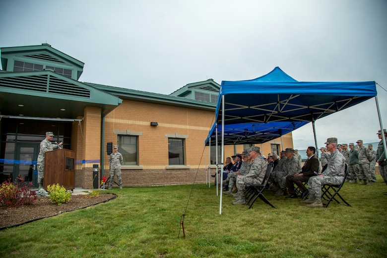 Col. James LeFavor, 102nd Intelligence Wing commander, speaks to members and guests of the 102nd at a ribbon-cutting ceremony November 7, 2015 at Otis Air National Guard Base, Massachusetts. The 102nd opened a state-of-the-art intelligence facility as part of its weapon system, the Distributed Common Ground Station. The DCGS has been a part of the Intelligence, Surveillance, and Reconnaissance mission of the 102nd since December 2009. (Air National Guard photo by Staff Sgt. Jeremy Bowcock)