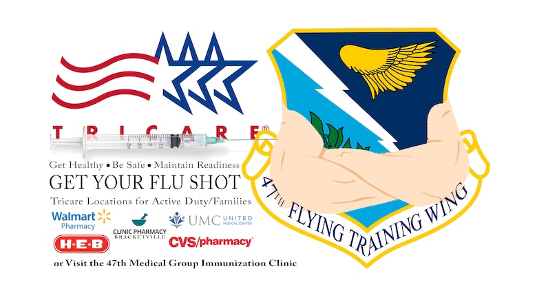 Military members, their families and retirees can visit the Immunization Clinic to receive free flu vaccines from 8:30 until 11:45 a.m. and 1 until 4 p.m. Monday through Friday. Additionally, these beneficiaries can also get free flu shots locally at Wal-Mart, CVS, United Medical Center and H-E-B in Del Rio and Clinic Pharmacy in Brackettville via TRICARE.(U.S. Air Force graphic by Tech Sgt. Steven R. Doty)