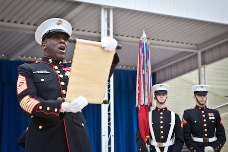 The 18th Sergeant Major of the Marine Corps, Ronald L. Green, reads Gen. John A. Lejeune's Birthday Message during the Pentagon Cake Cutting Ceremony hosted by the Commandant of the Marine Corps, Arlington, VA, Nov. 9, 2015.  The ceremony was held in honor of the 240th Birthday of the United States Marine Corps. (U.S. Marine Corps photo by Sgt. Melissa Marnell, Office of the 18th Sergeant Major of the Marine Corps/Released)