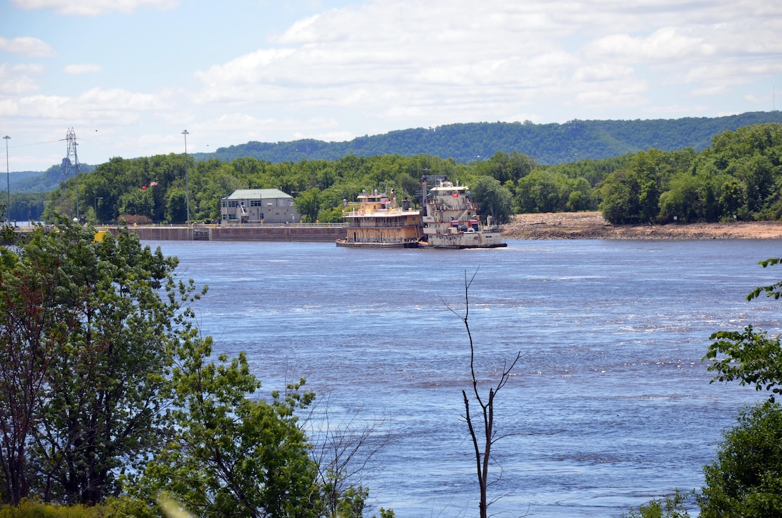 The U.S. Army Corps of Engineers Dredge William A. Thompson approaches Lock and Dam 5A, as it makes its way down the Upper Mississippi River for the last time June 12. After more than 80 years of service with the Corps, the Thompson will retire in Prairie du Chien, Wis.