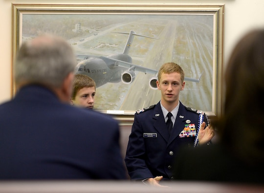 Civil Air Patrol Cadet Matthew C. Jackson tells Air Force Chief of Staff Gen. Mark A. Welsh III and his wife, Betty, about his desire to fly aircraft during a visit where he was presented the General Carl A. Spaatz Award at the Pentagon, Nov. 9, 2015. Jackson is the 2,000th recipient of this award, and he serves in the Twin Pine Composite Squadron of the New Jersey Wing, Civil Air Patrol, in West Trenton, N.J.  (U.S. Air Force photo/Scott M. Ash)